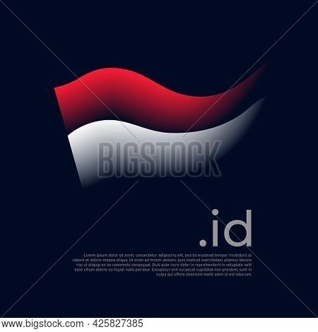 Indonesia Flag. Colored Stripes Of The Indonesian Flag On A Dark Background. Vector Stylized Design