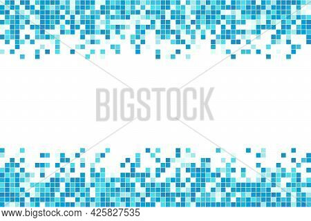 Abstract Blue Cyan Winter Mosaic Background. Aqua Blue Colored Square Tiles. Pixel Clean Backdrop Wi