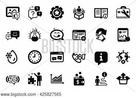 Vector Set Of Technology Icons Related To Clock, Web Settings And Yummy Smile Icons. Tool Case, Inte