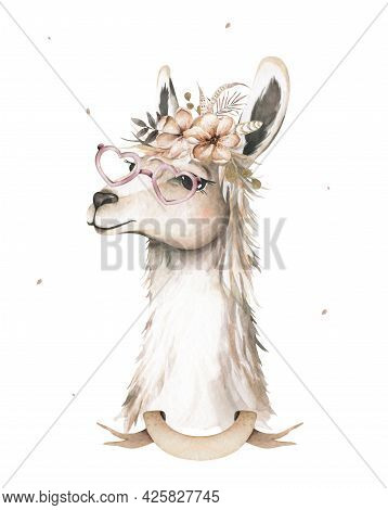 Lama Head Isolated. Guanaco Face In Watercolor Style. Wild Nature Animal With Flowers And Leaves On