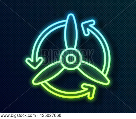 Glowing Neon Line Wind Turbine Icon Isolated On Black Background. Wind Generator Sign. Windmill For