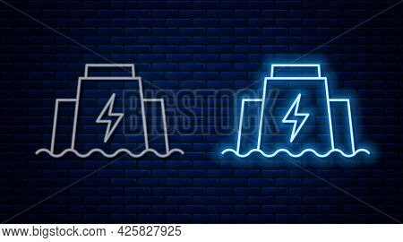 Glowing Neon Line Hydroelectric Dam Icon Isolated On Brick Wall Background. Water Energy Plant. Hydr