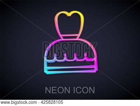Glowing Neon Line Woman Dress Icon Isolated On Black Background. Clothes Sign. Vector