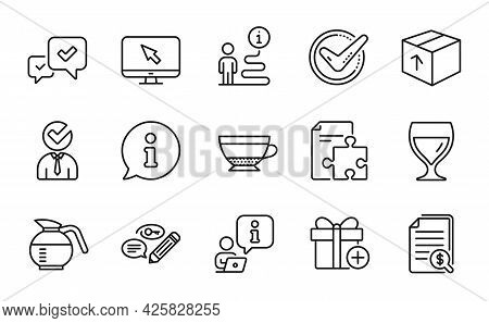 Line Icons Set. Included Icon As Wine Glass, Add Gift, Vacancy Signs. Confirmed, Internet, Coffeepot