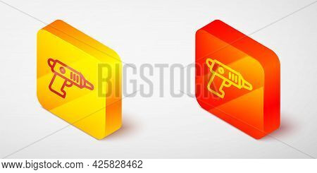 Isometric Line Electric Cordless Screwdriver Icon Isolated On Grey Background. Electric Drill Machin