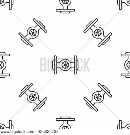 Grey Line Cosmic Ship Icon Isolated Seamless Pattern On White Background. Vector
