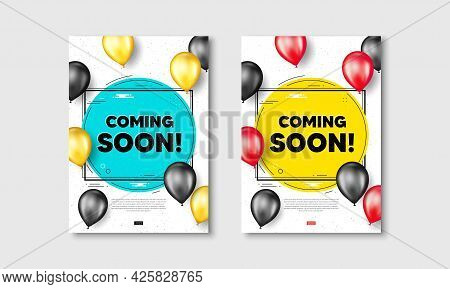 Coming Soon Text. Flyer Posters With Realistic Balloons Cover. Promotion Banner Sign. New Product Re