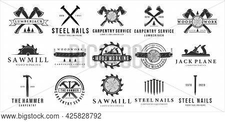 Set Of Carpentry Logo Vintage Vector Illustration Template Design. Bundle Collection Of Various Craf