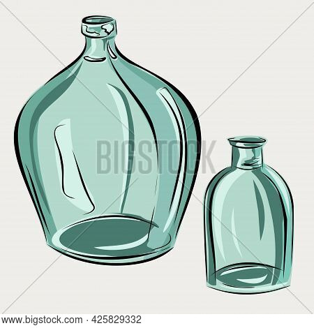 Glass Bottles, Jars. Transparent Blue And Green Glass. A Vase For Flowers, Water. Interior Decoratio