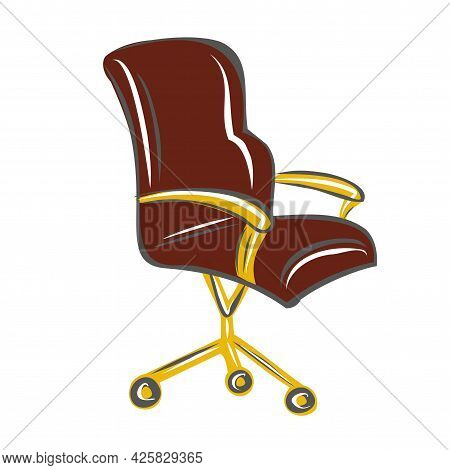Chair For Computer Desk. Office Chair On Wheels. Interior Design. Isolated Vector Objects.