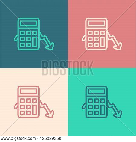 Pop Art Line Calculation Of Expenses Icon Isolated On Color Background. Vector