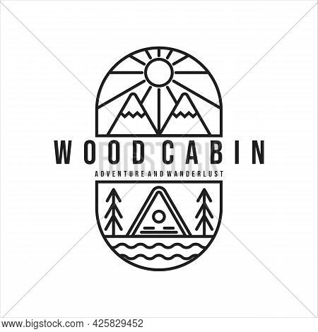 Wood Cabin Or Cottage Line Art Minimalist Simple Illustration Template Icon Logo Design. Cabin Mount