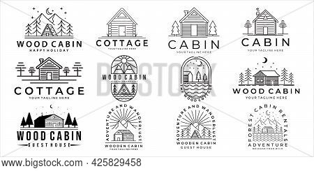 Set Of Cabin Or Cottage Logo Vector Illustration Template Icon Design. Bundle Collection Of Various