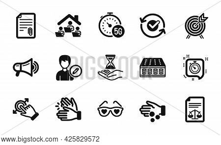 Vector Set Of 5g Internet, Megaphone And Edit Person Icons Simple Set. Legal Documents, Clapping Han