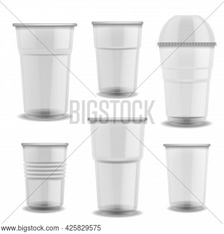Disposable Cups Transparent Plastic. Glasses With Dome Lid Empty Various Size For Cold And Hot Drink