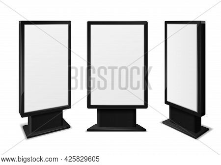 Realistic Light Box. Blank Billboards Front And Different Angles View, Information Advertising Signa