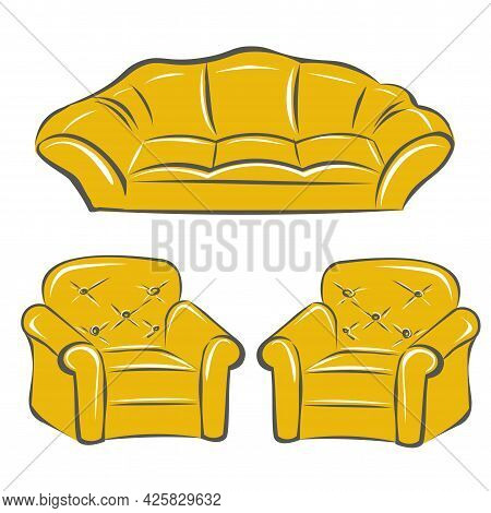 A Sofa And Two Armchairs In Mustard Yellow. A Set Of Furniture For A Classic Interior. Interior Desi