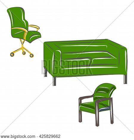 Green Set Of Furniture From Sofa, Loft, Computer Chair And Chair. A Set Of Furniture For A Classic I
