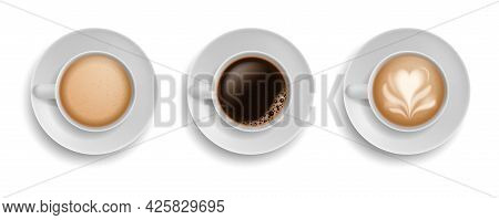 Cup Coffee. Realistic Mugs On Plate Top View. White Ceramic Utensil With Morning Aroma Drink Espress