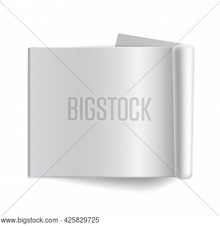 Empty Horizontal Album Mockup. Blank Open Magazine With Shadows Top View. Realistic White Clean Pape
