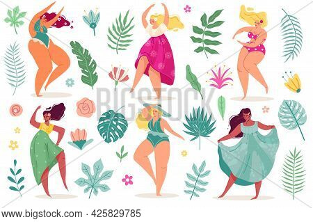 Summer Flowers Women. Pretty Body Positive Dance Young Sexy Girls In Dresses And Swimsuits With Long