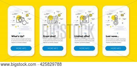 Vector Set Of Cogwheel Blueprint, Calendar Graph And Recovery Photo Line Icons Set. Ui Phone App Scr