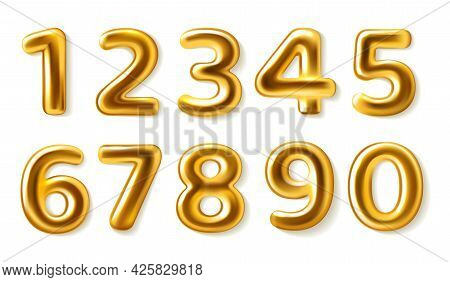Golden Numbers. Realistic Metal Plump Numerals From Zero To Nine, Glossy Metallic Luxury Party Decor