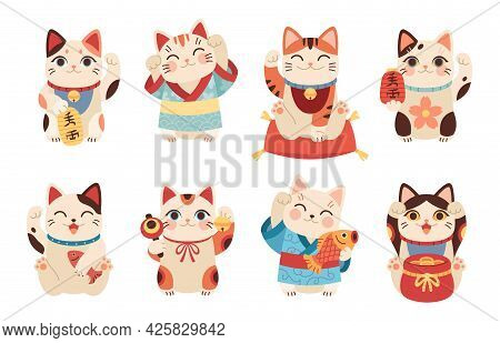 Japanese Maneki Cats. Asian Lucky Figurines, Cute Animals With Raised Paw, National Tradition And Cu