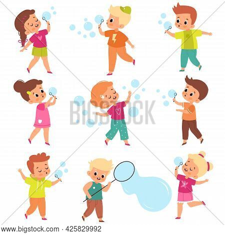 Soap Bubbles Show. Kids Blow Foam Bubble, Happy Little Girls And Boys Play, Summer Outdoor Activity,