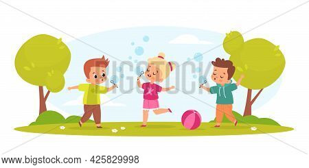Kids Blow Bubbles. Funny Boys And Girl Play With Soap Air Balls Outdoor In Park, Childish Hobbies An
