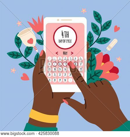 Menstrual Calendar. Smartphone Application With Female Cycle Calendar, Hands Holding Mobile Phone, W