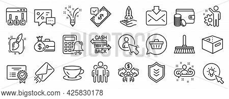 Set Of Line Icons, Such As Employee, Salary, Group Icons. Discounts, Shield, User Signs. Recruitment
