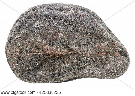 Top View Of Single Blackpebble Isolated On White Background.
