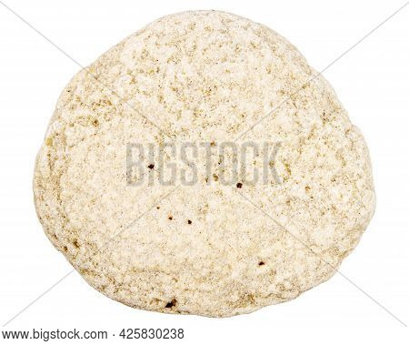 Top View Of Single Beige Pebble Isolated On White Background.
