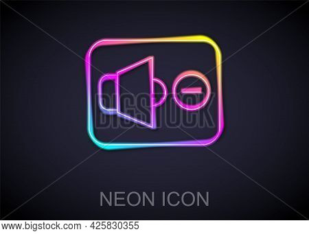 Glowing Neon Line Speaker Mute Icon Isolated On Black Background. No Sound Icon. Volume Off Symbol.