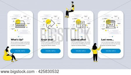 Vector Set Of Business Icons Related To Mattress, Share And Approved Documentation Icons. Ui Phone A