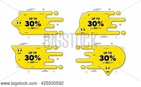 Up To 30 Percent Off Sale. Cartoon Face Transition Chat Bubble. Discount Offer Price Sign. Special O