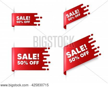 Sale 50 Percent Off Discount. Red Ribbon Tag Banners Set. Promotion Price Offer Sign. Retail Badge S