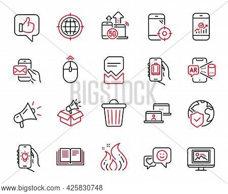 Vector Set Of Technology Icons Related To Megaphone, Smile And Swipe Up Icons. World Insurance, Smar