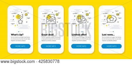 Vector Set Of Smile, Winner Medal And World Statistics Line Icons Set. Ui Phone App Screens With Lin