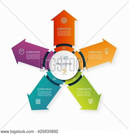 Modern Business Infographic Circle With 5 Arrows Pointing From The Center. 5-step Vector Template Fo