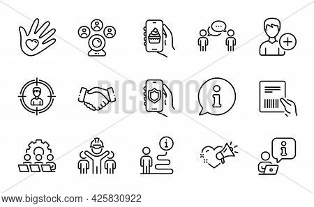 People Icons Set. Included Icon As Video Conference, Security App, Love Message Signs. Add Person, P