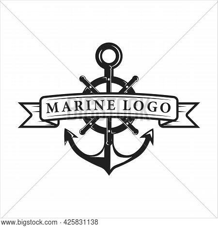 Nautical Logo Vintage Vector Template Icon Illustration Design. Anchor And Ship Steering Wheel Emble