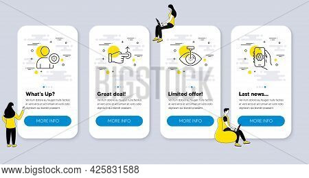 Set Of Business Icons, Such As Drag Drop, Security, Eye Laser Icons. Ui Phone App Screens With Peopl