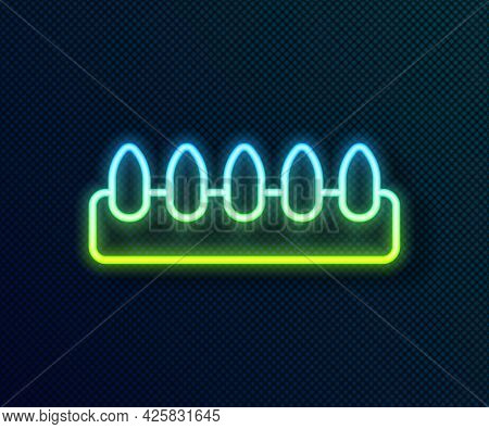 Glowing Neon Line Set Of False Nails For Manicure Icon Isolated On Black Background. Varnish Color P