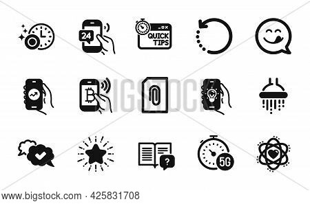 Vector Set Of Quick Tips, Star And Recovery Data Icons Simple Set. Atom, 24h Service And Bitcoin Pay