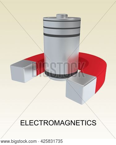 3d Illustration Of Electromagnetic Script Under A Magnet And A Battery, Isolated Over Pale Brown Gra