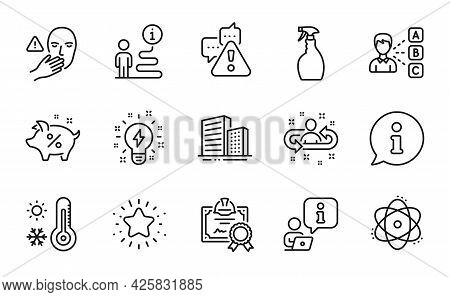 Line Icons Set. Included Icon As Warning, Weather Thermometer, Certificate Signs. Buildings, Dont To