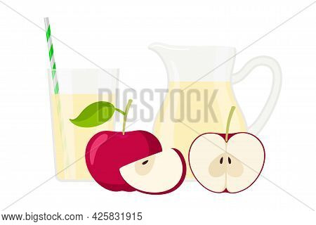 Aplle Juice. Jug And Glass Of Fresh Aplle Drink. Set Of Natural Fresh Juice, Red Whole And Cut Fruit