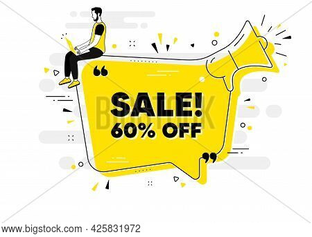Sale 60 Percent Off Discount. Alert Megaphone Chat Banner With User. Promotion Price Offer Sign. Ret